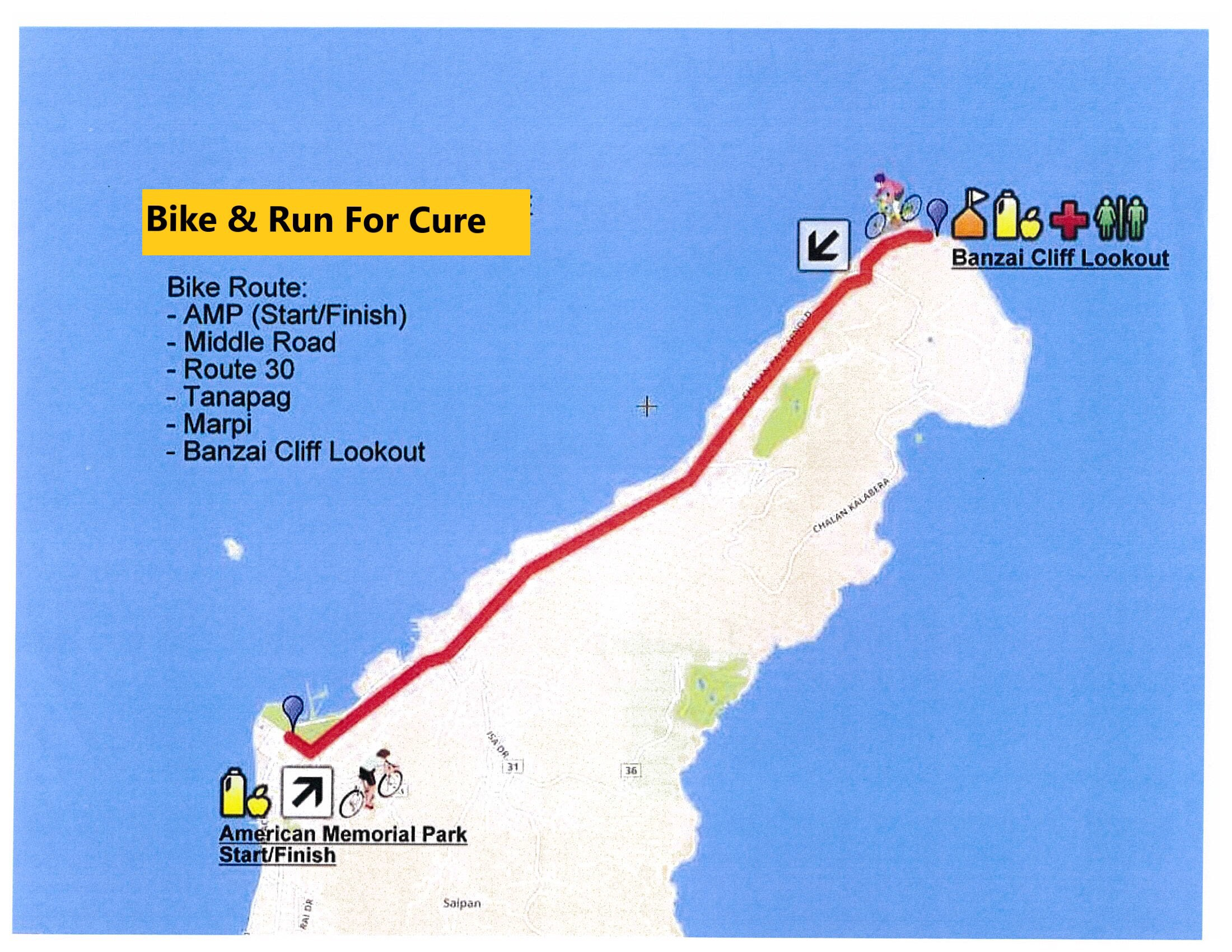 Bike Run for Cure Route